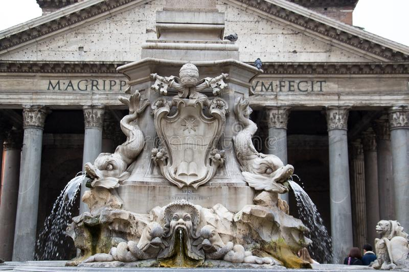The Fountain of the Pantheon Fontana del Pantheon. It was commissioned by Pope Gregory XIII and is located in the Piazza della royalty free stock images