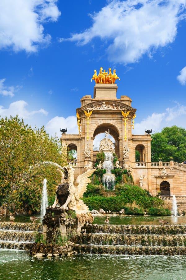 Fountain at Parc de la Ciutadella Citadel park, Barcelona. View of Barcelona, Spain. Fountain at Parc Citadel park de la Ciutadella royalty free stock photo