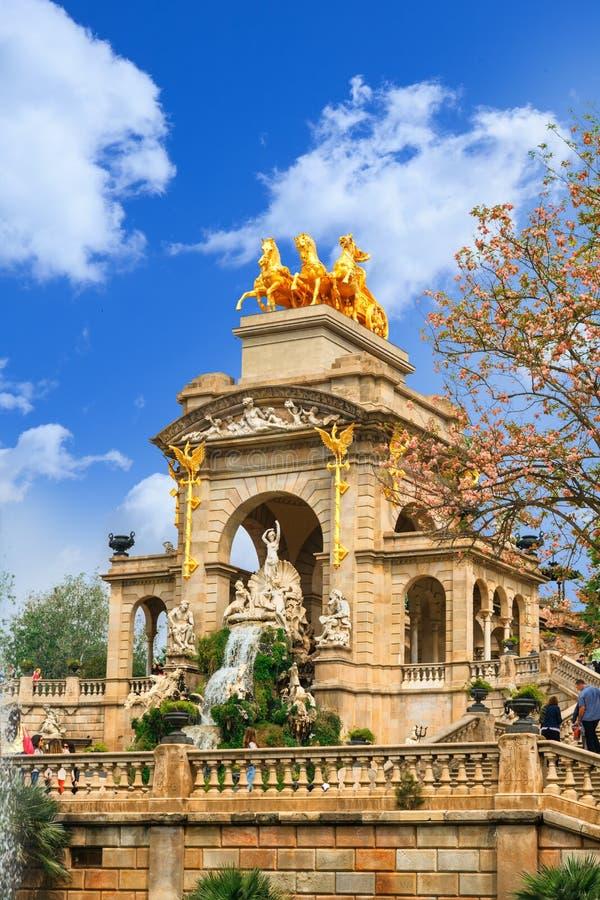 Fountain at Parc de la Ciutadella Citadel park, Barcelona. View of Barcelona, Spain. Fountain at Parc Citadel park de la Ciutadella royalty free stock images