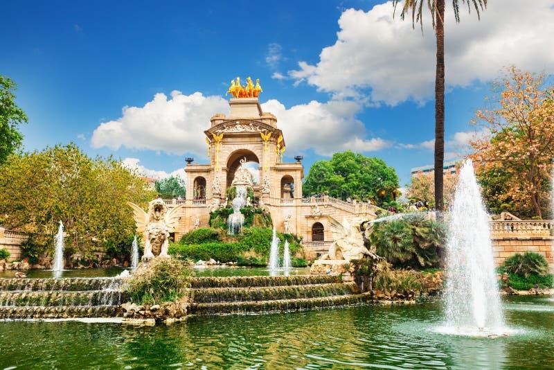 Fountain at Parc de la Ciutadella Citadel park, Barcelona. View of Barcelona, Spain. Fountain at Parc Citadel park de la Ciutadella stock photo