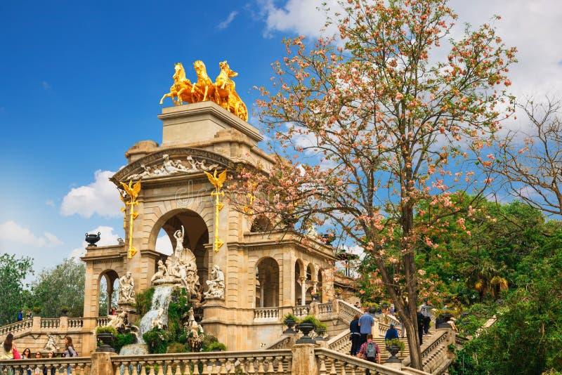 Fountain at Parc de la Ciutadella Citadel park, Barcelona. View of Barcelona, Spain. Fountain at Parc Citadel park de la Ciutadella stock photos