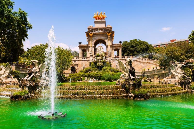 Fountain at Parc de la Ciutadella. View of Barcelona, Spain. Fountain at Parc de la Ciutadella stock images