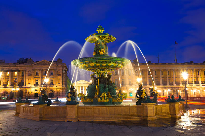 Download Fountain in Paris at Night stock image. Image of historical - 19873041