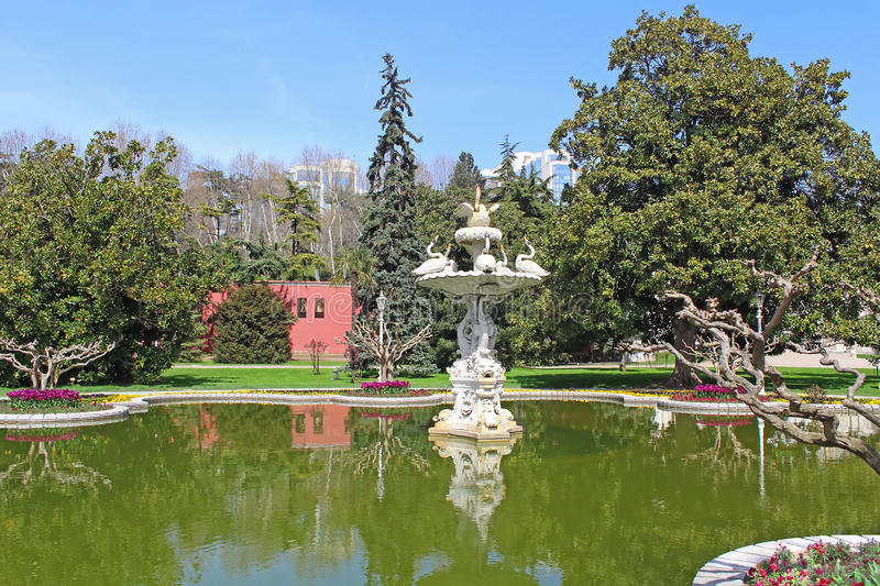 Fountain in the park in Dolmabahce Palace, Istanbul stock images