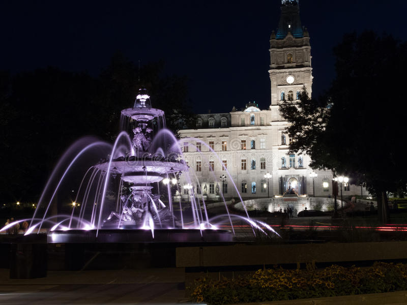 Fountain with parliament building in the background, Tourny Fountain, Quebec City, Quebec, Canada stock image