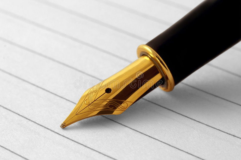 Fountain-pen. Elegant fountain pen on paper with clipping-path stock images