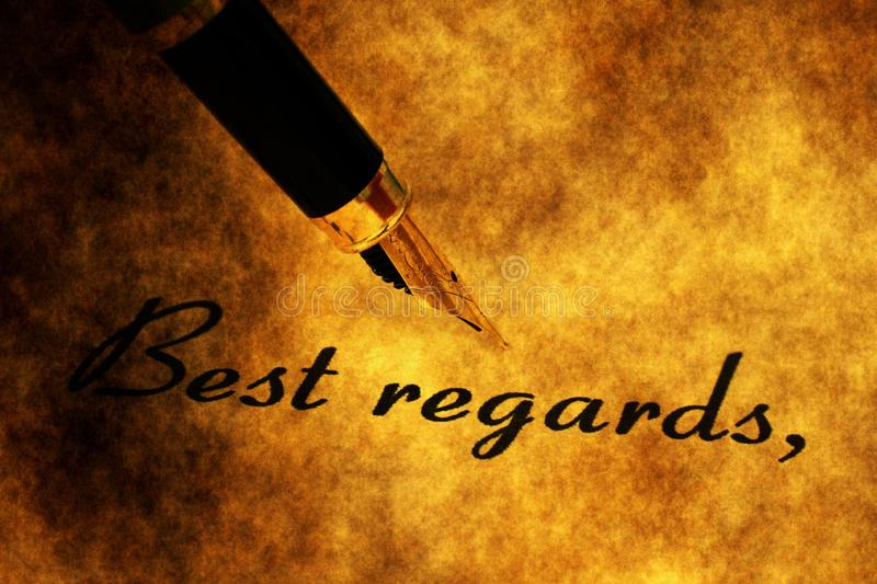 Fountain pen on best regards text.  royalty free stock photography