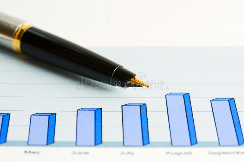 Fountain pen and business graphs. Monitoring of stock index dynamics royalty free stock photography