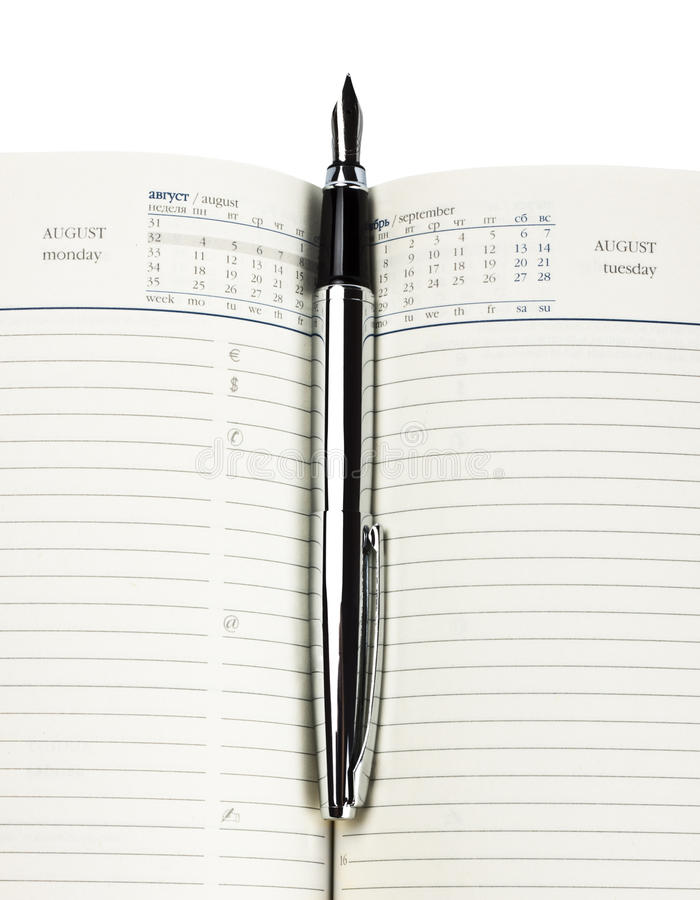 Fountain pen on diary