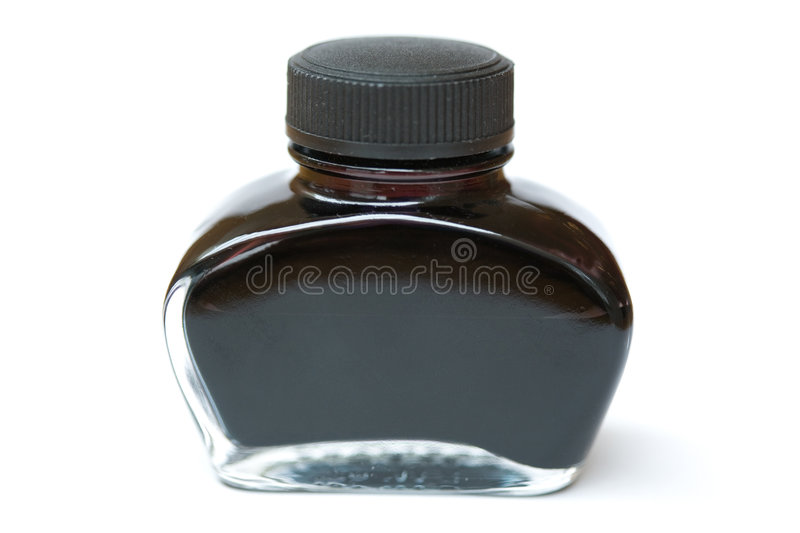 Fountain pen ink. Bottle with white background royalty free stock photo