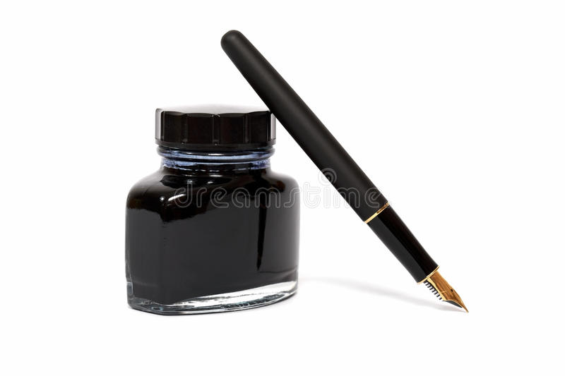 Fountain pen with the ink bottle. On white background stock image