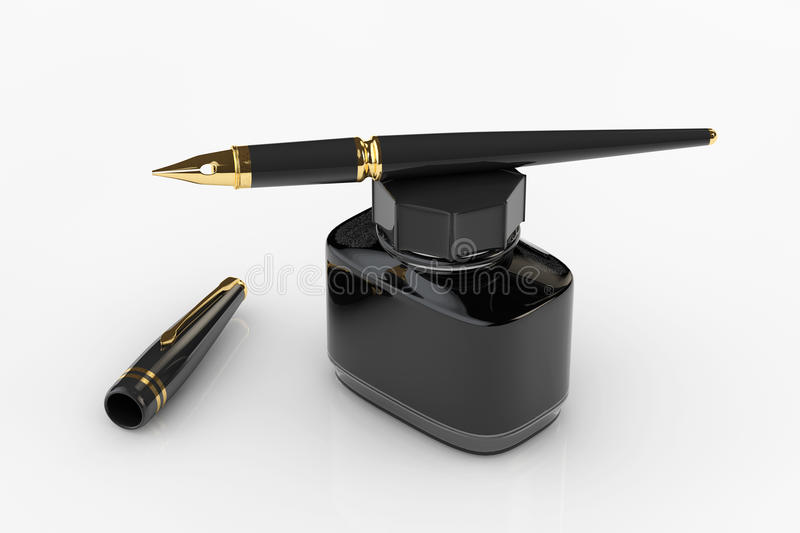 Fountain Pen with Ink Bottle. On a white background stock illustration