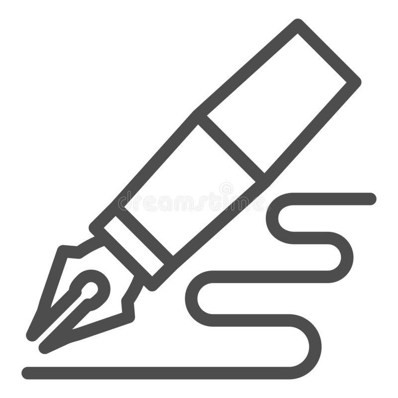 Fountain pen line icon. Feather pen drawing line vector illustration isolated on white. Pen writing outline style design royalty free illustration