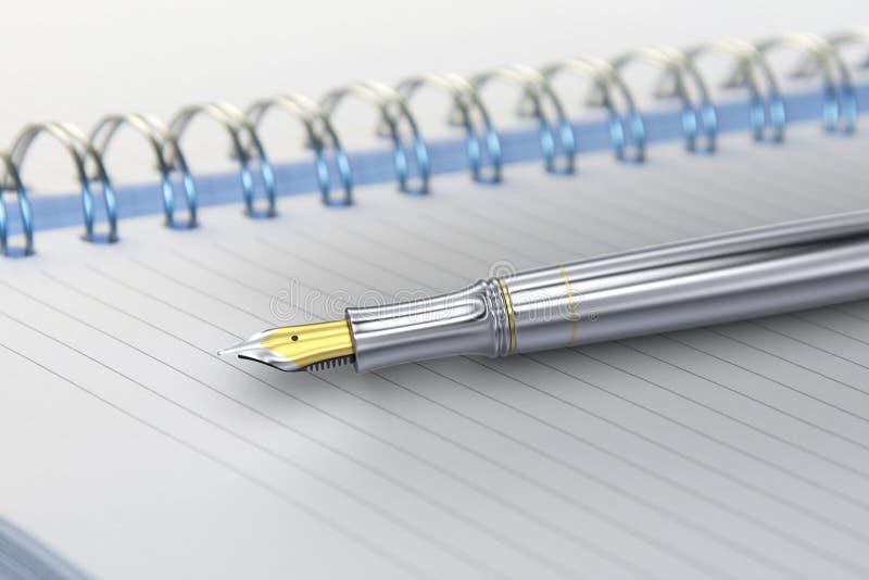 Fountain pen on notebook. 3D rendering of metal fountain pen on notebook stock illustration