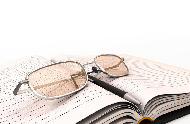 Fountain pen notebook and glasses close-up. 3d render image vector illustration
