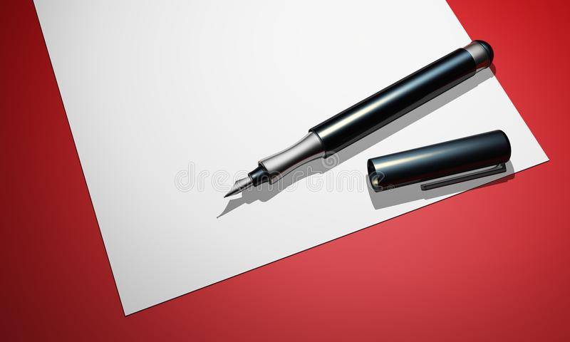 Download Fountain Pen On Paper Stock Photography - Image: 18394492