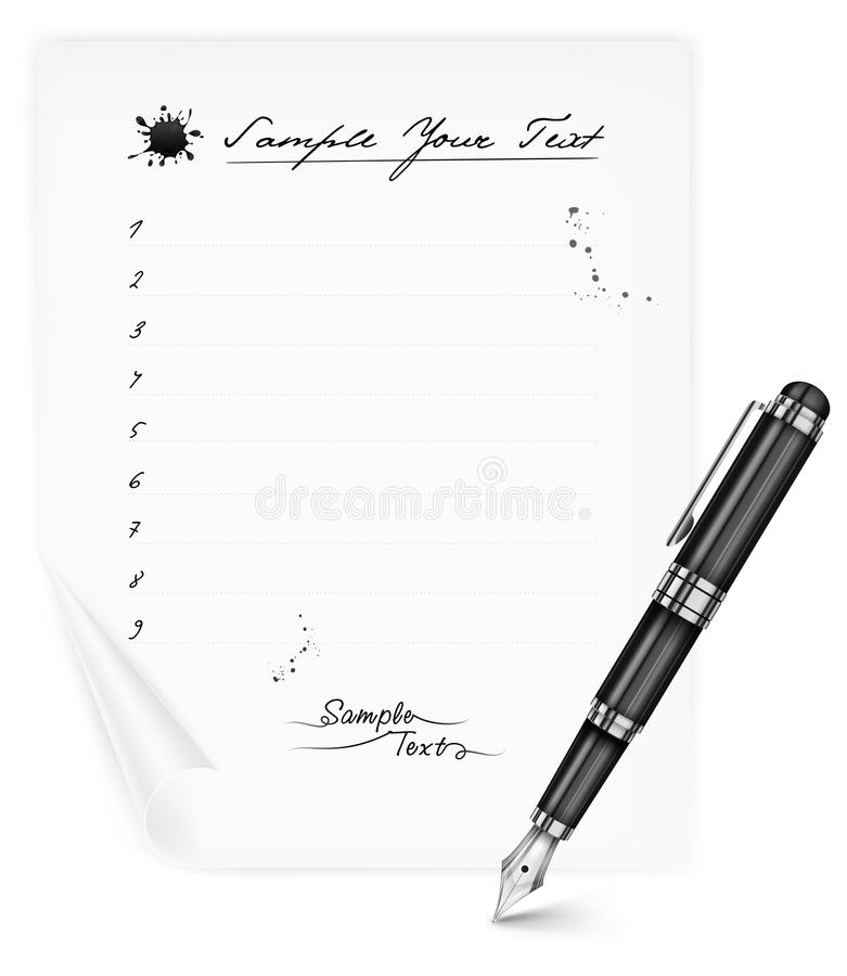 Download Fountain Pen And Paper Sheet Stock Vector - Image: 29400752