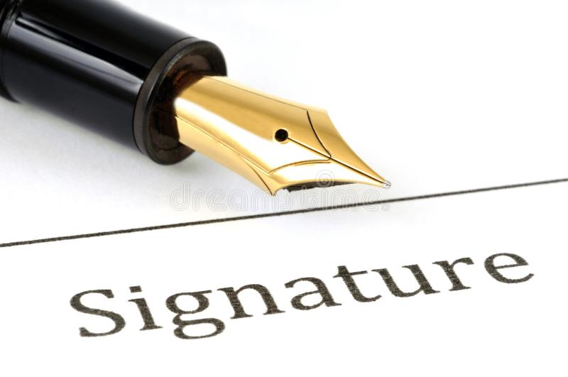 The signature. A fountain pen placed next to the word signature vector illustration