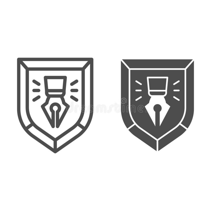 Fountain pen in shield line and glyph icon. Copyright protection emblem vector illustration isolated on white. Fountain stock illustration
