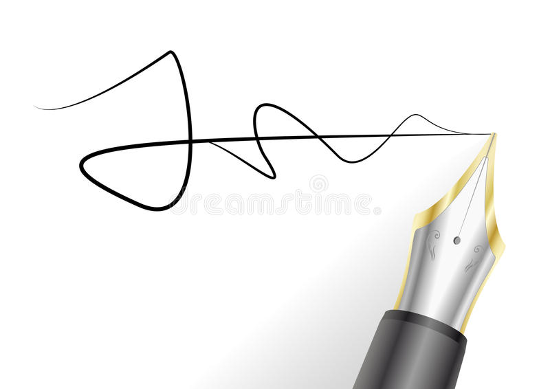 Fountain pen with signature royalty free illustration
