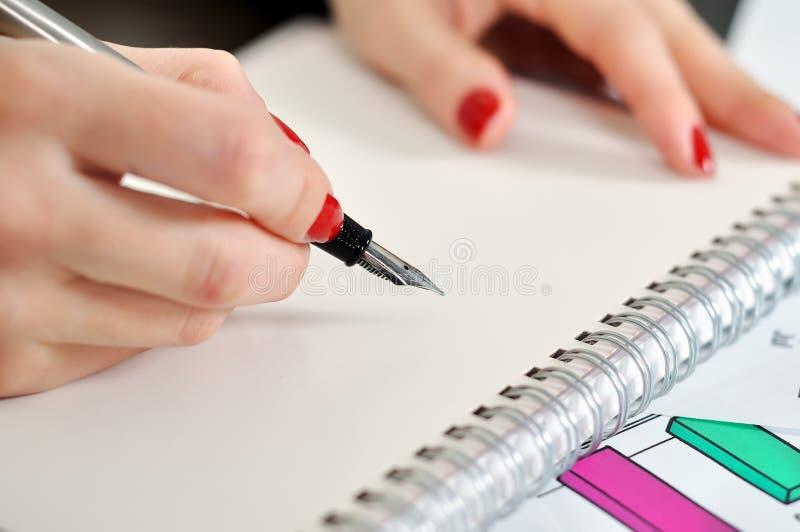 Fountain pen writing stock photo