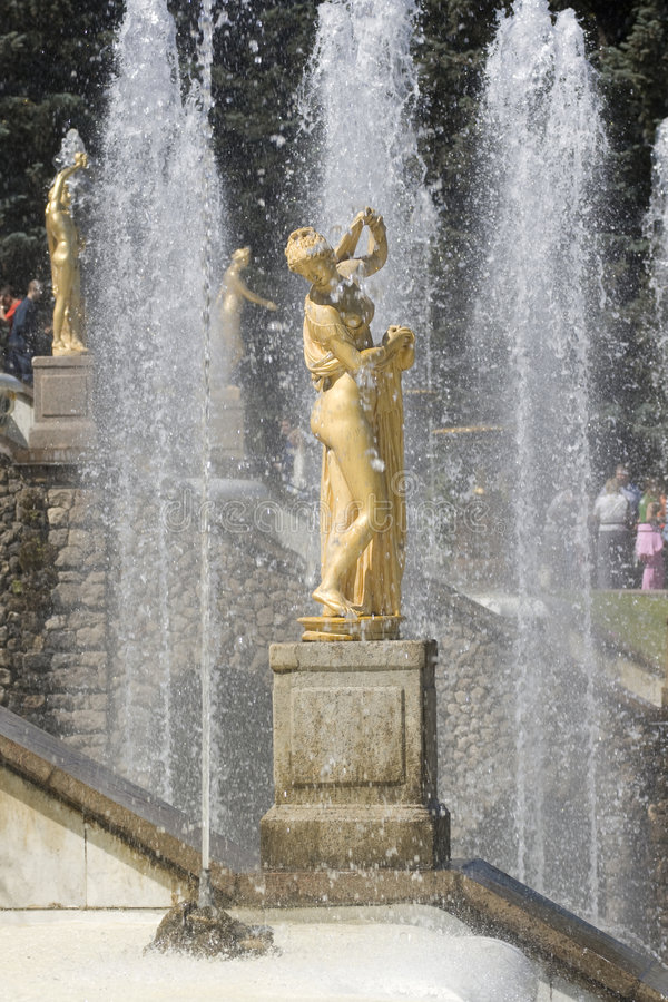 Fountain in Petrodvorets (Pete royalty free stock image