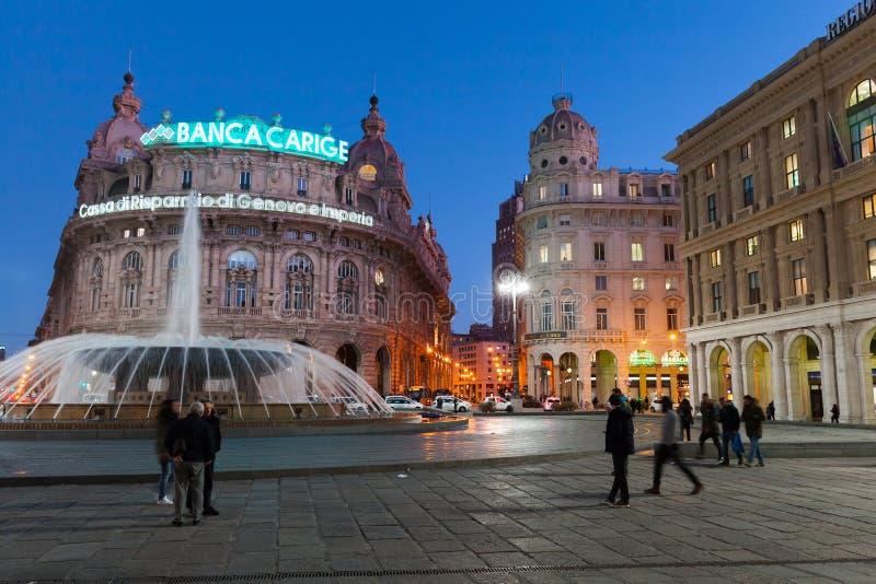 Fountain on the Piazza De Ferrari, Genova. Genova, Italy - January 17, 2018: Night view of the Fountain on the Piazza De Ferrari in Genova old town, ordinary stock photography
