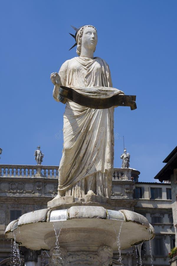 Fountain of piazza delle erbe. Ornate fountain in Piazza delle erbe in Verona Italy also known as the Madonna Verona stock photography