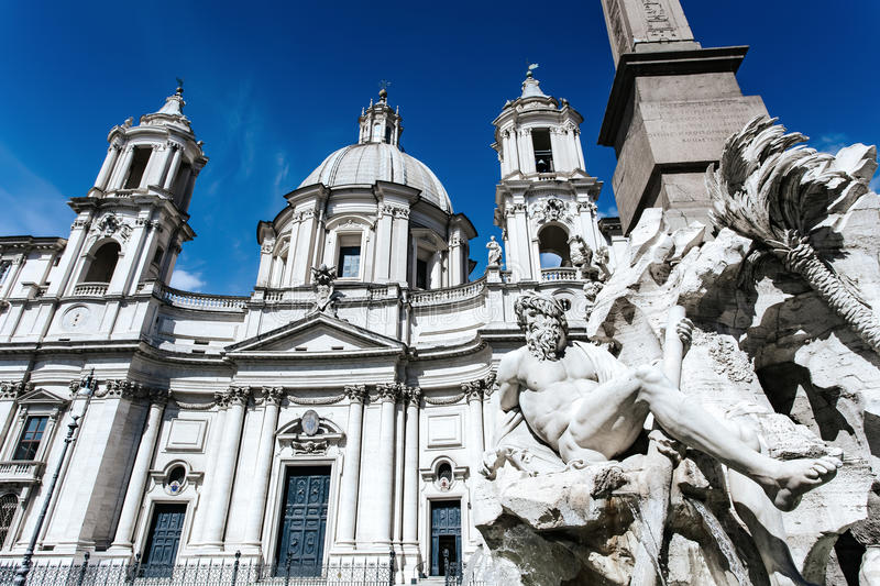 Fountain at Piazza Navona in Rome. Italy stock images