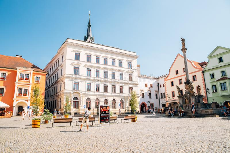 Fountain and Plague Column and old buildings at Namesti Svornosti main square in Cesky Krumlov, Czech royalty free stock photos