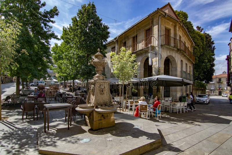 The fountain of the Plaza de la Verdura in Pontevedra. Pontevedra, Galicia, Spain; September 2018: view of the fountain of the Plaza de la Verdura in the royalty free stock photography
