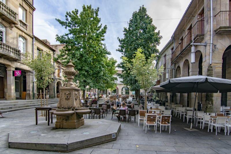 Fountain of the Plaza de la Verdura in Pontevedra. Pontevedra, Galicia, Spain; September 2018: view of the fountain of the Plaza de la Verdura in the historic stock images