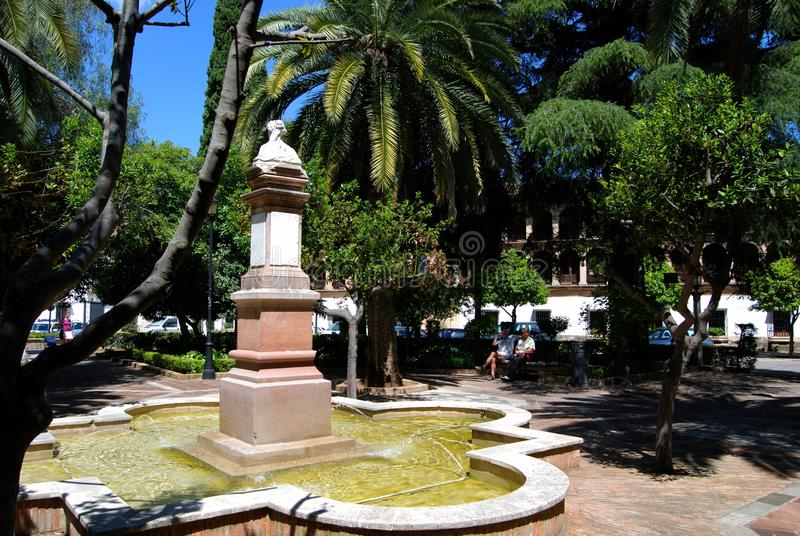 Fountain in Plaza Plaza Duquesa de Parcent , Ronda, Spain. stock photo