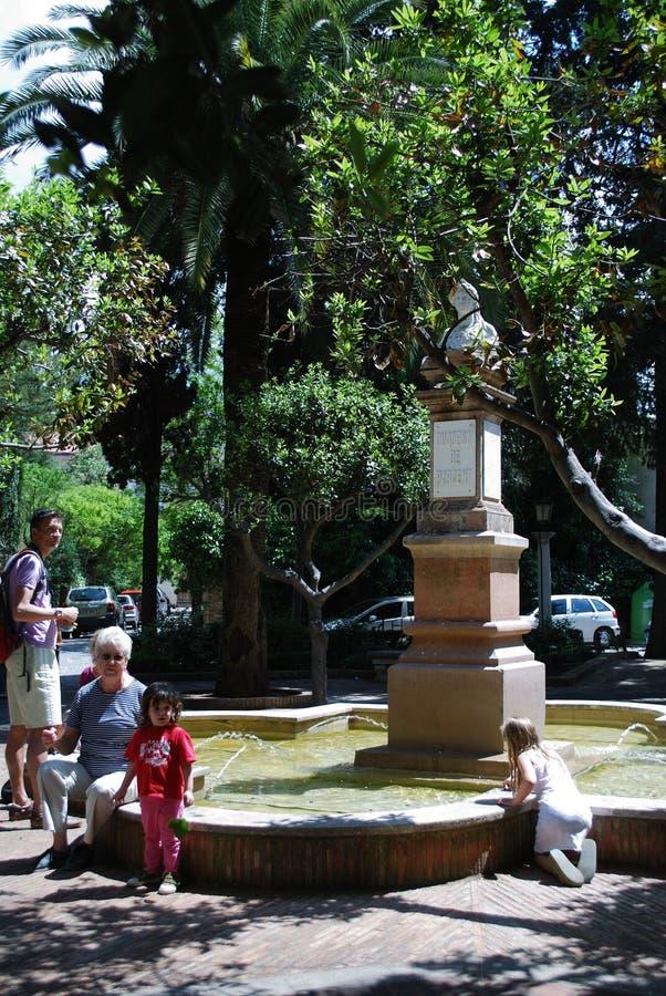 Fountain in Plaza Plaza Duquesa de Parcent , Ronda, Spain. royalty free stock photo