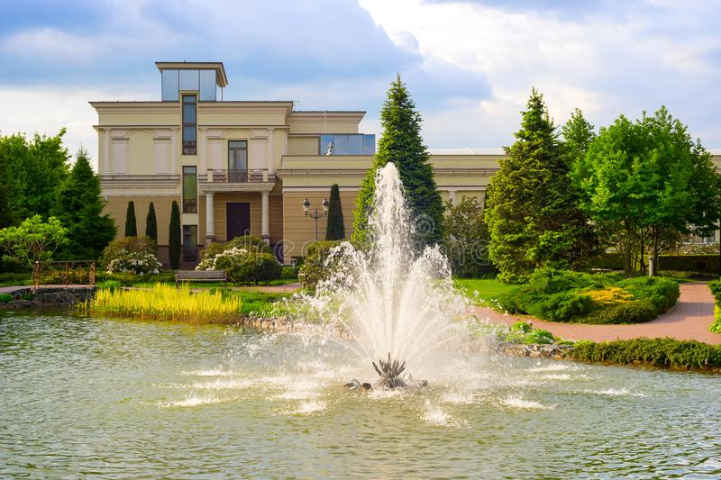 fountain pond Mezhyhirya residence attraction stock images