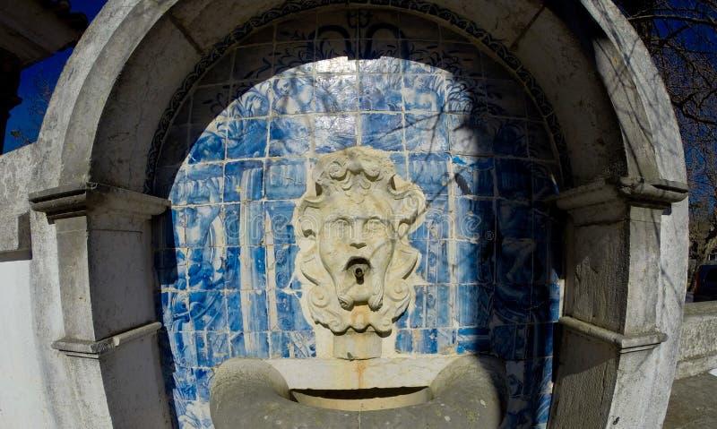 Fountain in railway station on the neighbourhood of Lisbon stock photos