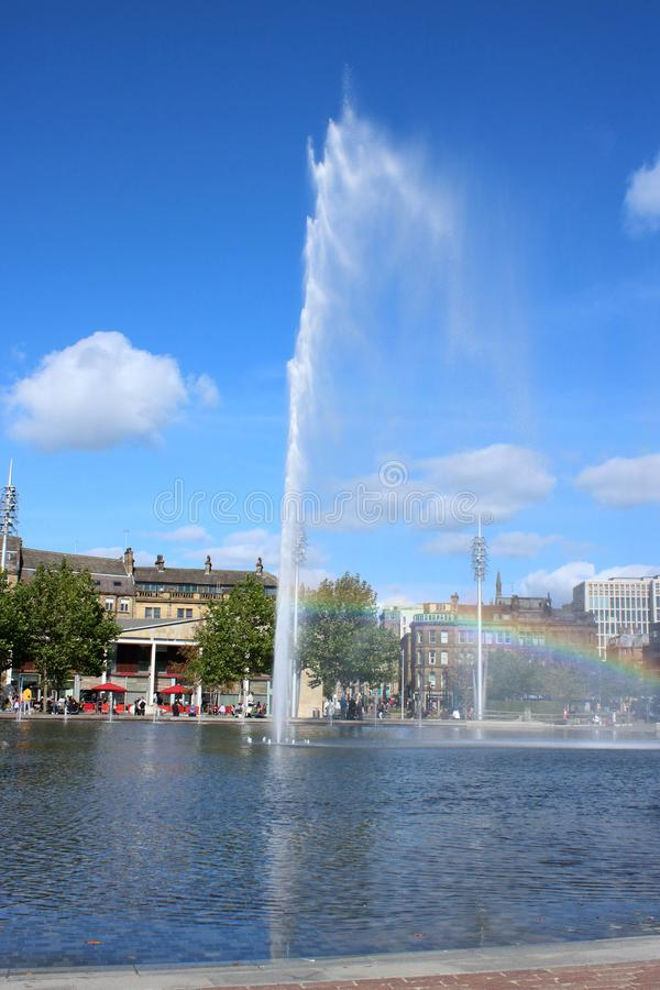 Fountain with rainbow, Mirror Pool in Bradford royalty free stock image