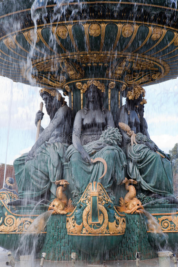 Fountain River Commerce and Navigation Concord. Landmark famous sculptural fountain of River Commerce and Navigation on the Place de la Concorde in Paris France stock photography