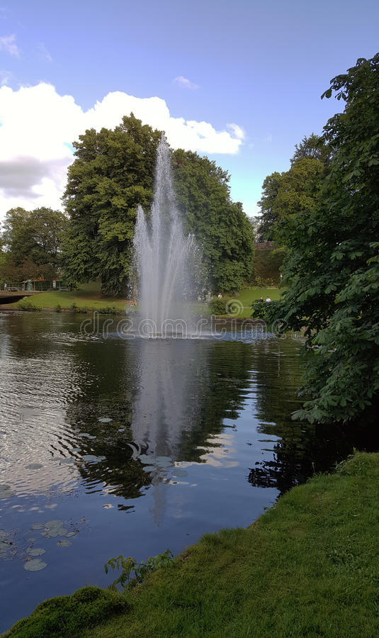 Fountain in the river stock image
