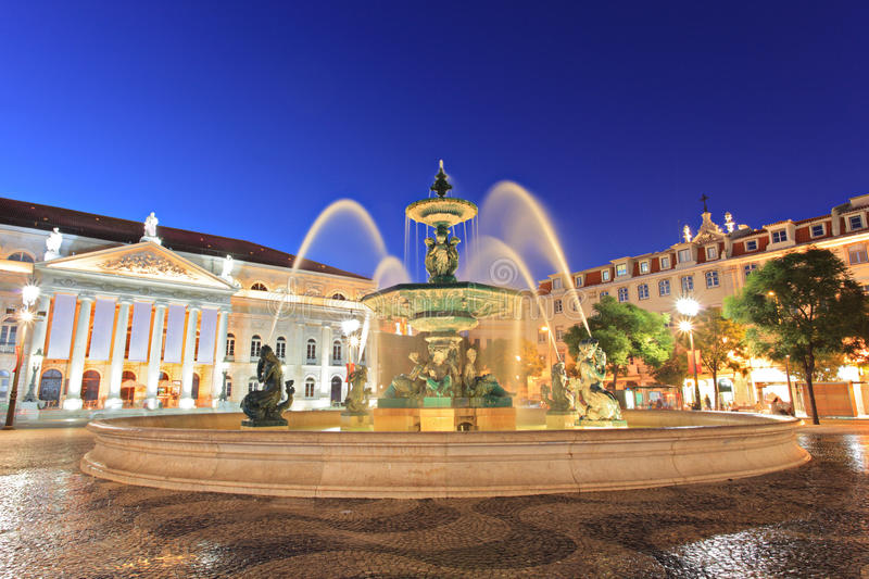 Fountain at Rossio square, Lisbon royalty free stock photography