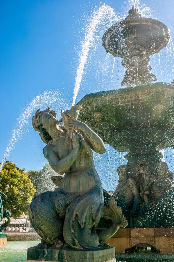 Fountain of Rossio Square in Lisbon, capital of Portugal royalty free stock image