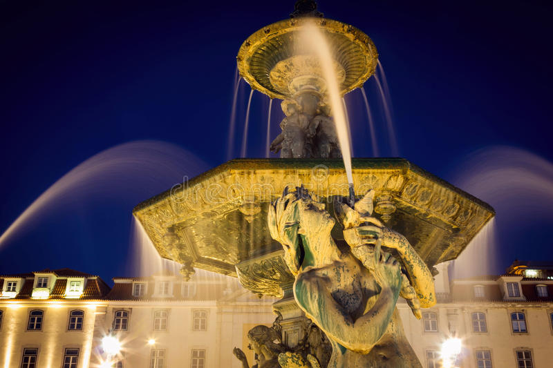 Download Fountain In Rossio Square Lisbon At Night Time Stock Image - Image of rossio, illuminated: 83723691