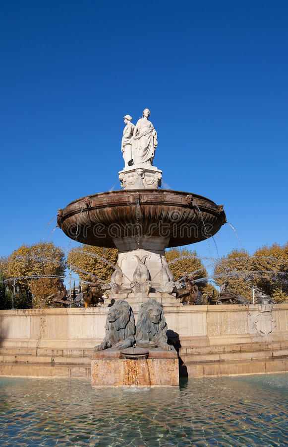 Fountain Rotonde (1860). Aix-en-Provence, France. Fountain Rotonde (Fountain of Three Graces, circa 1860). Architect Theophile de Tournadre. One of the most stock image