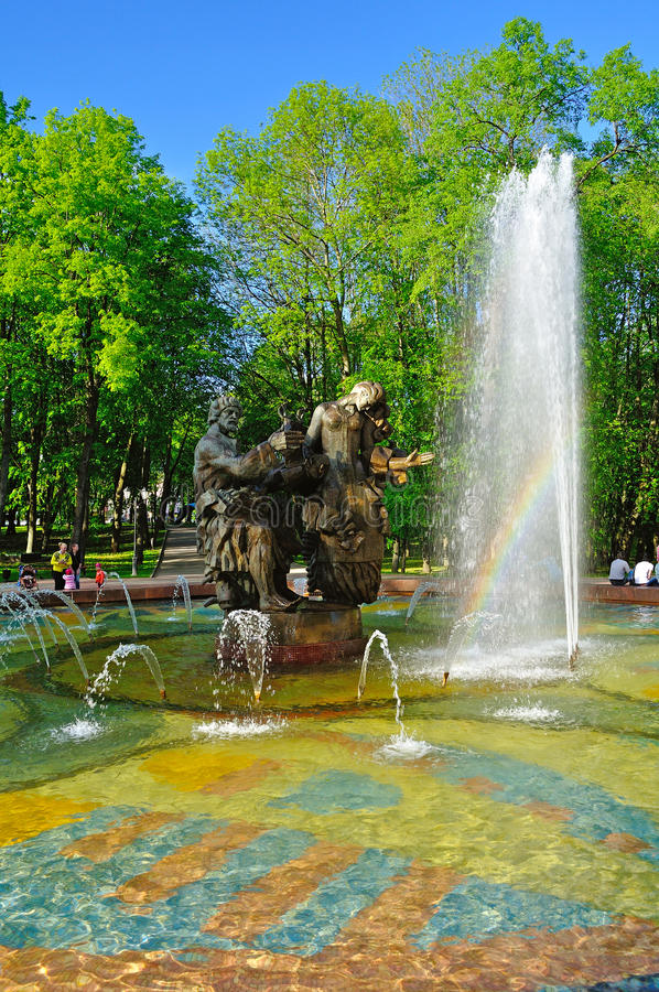 Fountain of Sadko and Princess Volkhova - heroes of Novgorod legends, Veliky Novgorod, Russia royalty free stock images