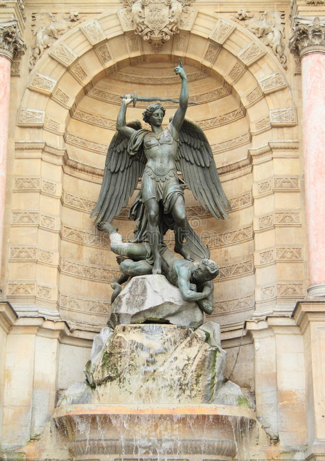 Download Fountain Saint-Michel stock photo. Image of wings, saint - 31208962