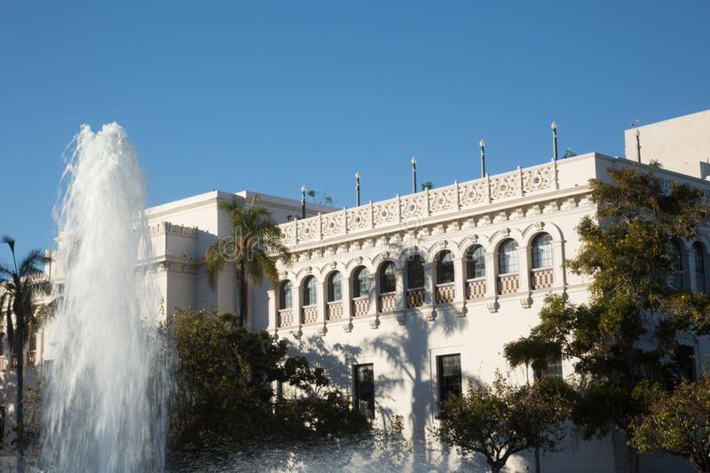 Fountain at the San Diego Natural History Museum. View of the fountain in front of San Diego's Natural History Museum in Balboa Park royalty free stock photo