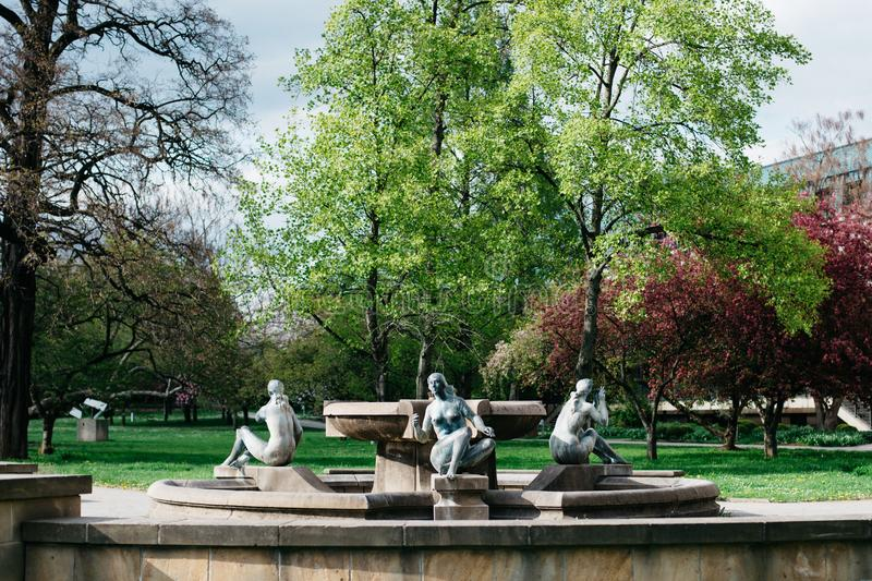 Fountain with sculptures of naked women in Dresden stock image