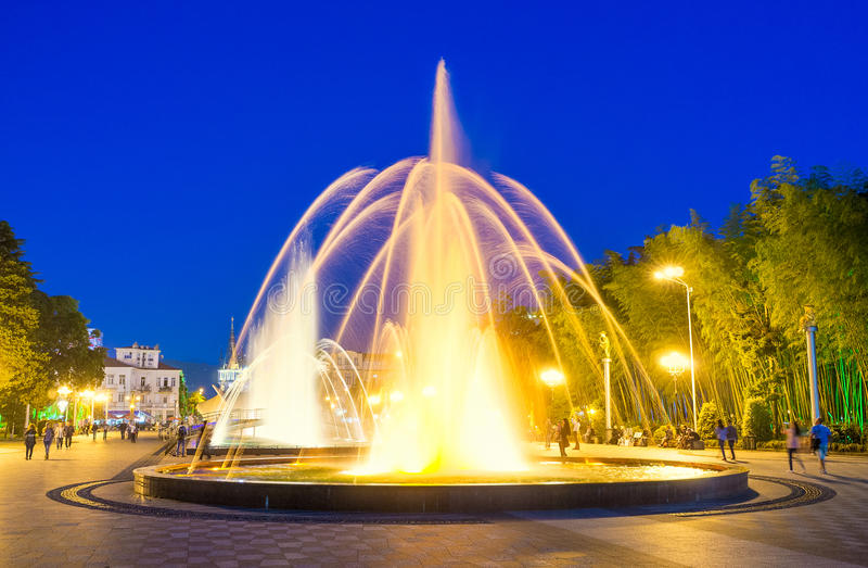The fountain show in Batumi royalty free stock photo