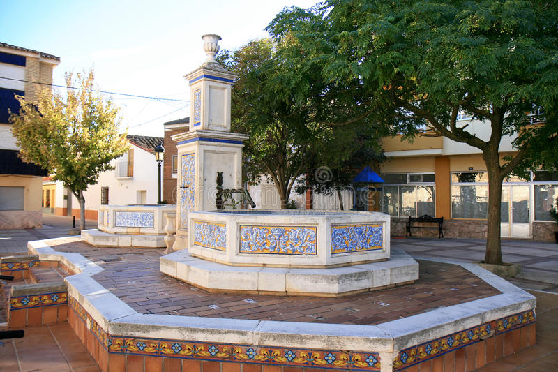 Fountain with Spanish azulejos in Casas de Ves royalty free stock images