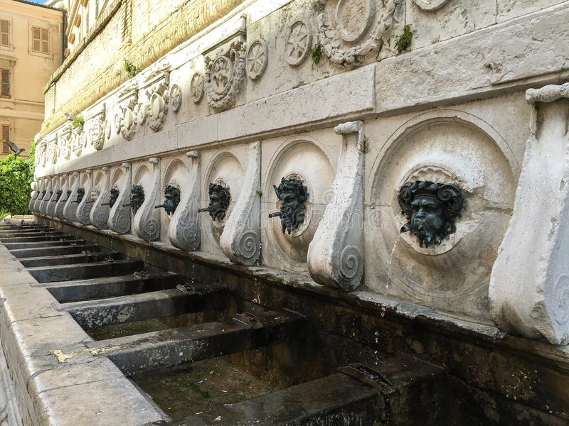The fountain of the 13 spouts. In Ancona royalty free stock photography